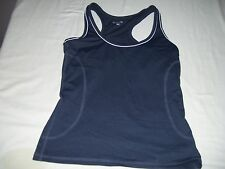 Old Navy Womens Size XS Solid Gray White Trim Athletic Knit Top Racerback Style