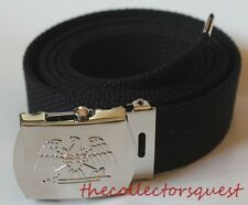 "NEW EAGLE ADJUSTABLE 62"" INCH BLACK CANVAS MILITARY GOLF WEB BELT CHROME BUCKLE"