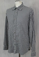 PAUL SMITH Mens Grey Striped SHIRT - Size Medium - M