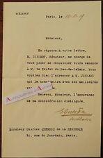 L.A.S 1919 [Jules JONNART] Sénateur signature secrétaire QUENSON DE LA HENNERIE