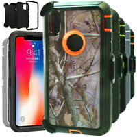 For iPhone XS XR MAX Shockproof Case Camo Hard Cover With Belt Clip Holster