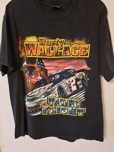 "Vtg Rusty Wallace NASCAR ""Taking Flight"" Harley Miller Lite 2 Sided T Shirt L"