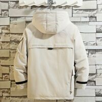 Men Puffer Coat Quilted Overall Jacket Loose Hooded Parka Padded Outwear Classic