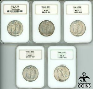Lot of 5: 1946-D UNITED STATES Walking Liberty Half Dollar NGC MS65 OLD HOLDERS