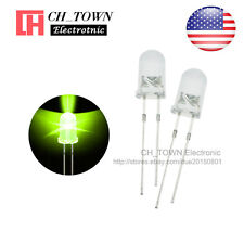100pcs 5mm LED Diodes Water Clear Yellow Green Light Transparent Round Top USA