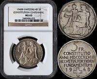SWITZERLAND 5 FRANCS 1948-B (NGC MS65) *CONSTITUTION CENTENNIAL*