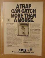Vintage 1980's D-CON Mouse Trap PEST 1989 Original Print Ad PROMO Advertisement
