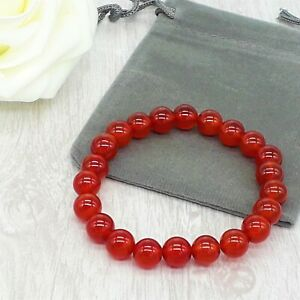 Handmade Natural Red Carnelian Gemstone Stretch Bracelet & Velvet Pouch. 4/6/8mm