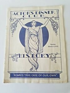 Actor's Dinner Club Magazine - Sunday March 1933 - Mary Pickford
