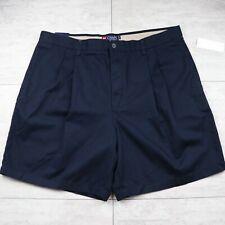 NWT Men's CHAPS Pleat Front Navy Blue Shorts - Size 40