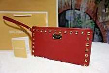 NWT MICHAEL KORS SAFFIANO STUD Zip Clutch Wristlet Purse CHERRY RED Leather $128