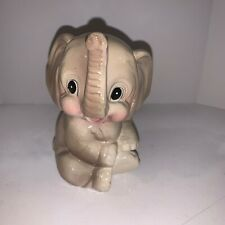 Elephant Ceramic Gray Trunk Up Sitting On Bottom