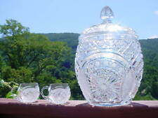 Vintage Bohemian Brilliant Cut Glass Lidded Punch Bowl and 22 Cups