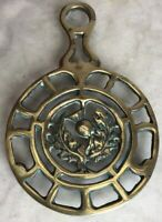 ANTIQUE 1930 Scottish SOLID  Brass Trivet THISTLE Kitchen Hearth Teapot Stand