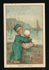 Netherlands Dutch children Father's Ship used 1913 PPC