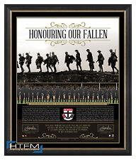 St Kilda Honouring Our Fallen ANZAC Signed AFL Print Framed Riewoldt Richardson
