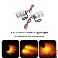 Mini LED Turn Signal Lights Amber Bulb Indictor Lamps For Harley Softail Touring