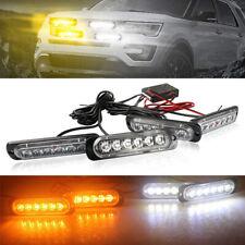 Car 6LED Amber/White Police Strobe Flash Light Dash Emergency Warning Lamp Kit
