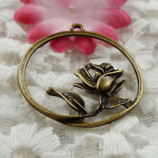 free ship 24 pieces bronze plated flower charms 35x32mm #3868