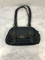 Naturalizer Medium Size Handbag Dark Blue Leather Purse with Buckles Clasps