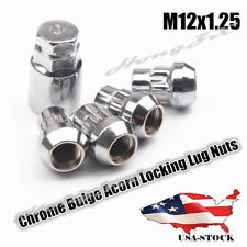 12X1.25 Chrome Locking Lug Nuts Set Wheel Locks Bulge Acorn For Nissan Infiniti