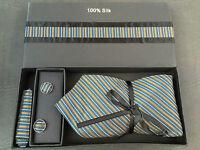 BNIB Mens 100% Pure Silk Multi Stripe Formal Tie Cufflinks & Kerchief Box Set