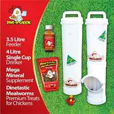 DINE-A-CHOOK Chicken Feeder & Drinker Set / Chook Waterer / Mealworms / Mineral