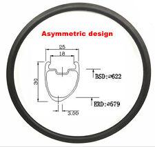 700c carbon road bike rim 30mm depth 25mm width clincher asymmetric carbon rim