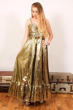 80S VINTAGE BRIDESMAID DRESS Gold foil metallic lame bridesmaid hen do amdram