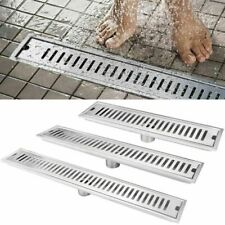 Stainless Bathroom Floor Drain Linear Long Shower Waste Drainer Grate silver