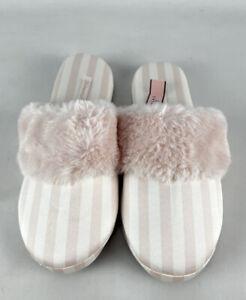 Victoria Secret Signature Satin Slippers Pink White Stripes Size Small Faux Fur