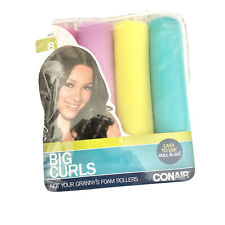 Conair Big Curls Foam Rollers Jumbo Big Curls 8pc Multicolor Roll And Go New