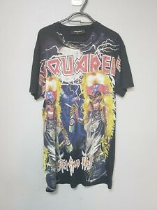 DSquared2 Sisters From Hell Crackled Print T-shirt In Black Size M - USED