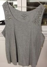 SONOMA WOMAN PLUS 1X SHIRT KNIT TANK TOP CAMI sleeveless light gray NEW TAGS