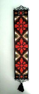 Mid Century Modern Orange Black Green Geometric Weaved Wall Decor Metal Fringe