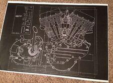 Harley Davidson Blueprint Panhead Vintage Motorcycle Poster Picture Beer Sign