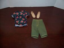Barbie Fashionistas Ken Doll Outfit Model #4 Floral Tee Green Shorts Loafers Lot