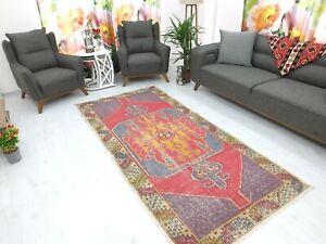 Antique Rug 4.1x8.8,Turkish Rug,Old Floor Mat,Handmade Rug,Oushak Rug,Boho Rug.