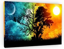 TREE OF LOVE NIGHT & DAY CANVAS PICTURE PRINT WALL ART CHUNKY FRAME LARGE 796-2