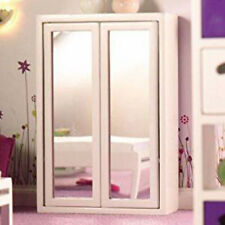 Dolls House Miniature 1:12th Scale White Mirror Front Double Wardrobe