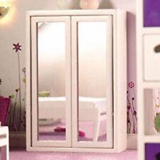 Casa de muñecas en miniatura escala 1:12th Blanco Espejo Armario Doble Frontal