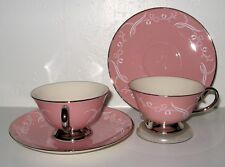 FLINTRIDGE Snow Tulip Pink Cup Saucer Set of 4