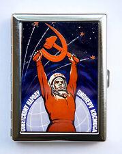 Soviet space propaganda Cigarette Case Wallet Business Card Holder russia sci fi