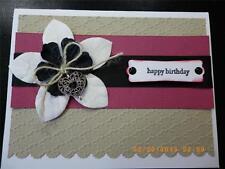 Handmade Happy BIRTHDAY Card Using STAMPIN UP HEART Charm EMBOSSED Ribbon Prima