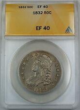 1832 Bust Silver Half Dollar ANACS EF-40 XF Coin Choice Example