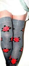 Rose Flower Over Knee Pattern sock on Grey