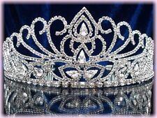 "BIJOU DIADEME corona pageant tiara mariée argenté cristal ""MISS ETE"" cristal"