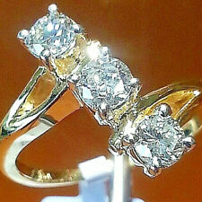 14K Yellow Gold,3 stone Diamond Ring .0.75CT.Total.Size 6.5