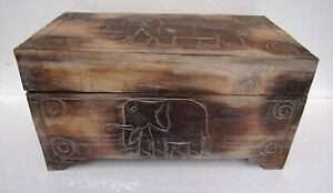 Unusual Hand Carved Elephant Trunk- Elephant carved Storage chest Trunk - LARGE