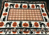SET OF TWO BLACK WHITE & ORANGE HALLOWEEN WOVEN PLACEMATS REVERSIBLE SPOOKY FUN!